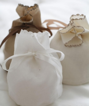 Косметички Сумочки Маски для сна. Круглый мешок лен от Catherine Denoual Maison