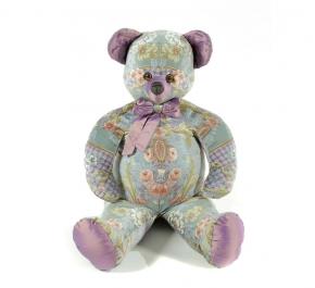 . Мишка (мягкая игрушка) в текстиле с голубым узором (60 см)