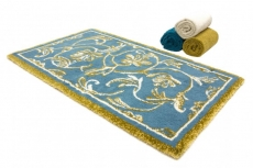 Коврики для ванной комнаты. Коврик для ванной Династия Голубой-золотой растительный декор Abyss&Habidecor