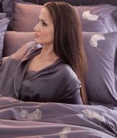 Постельное бельё Deluxe. Постельное белье семейное Перья Перпурно-серый (140х200 - 2шт) от Catherine Denoual Maison