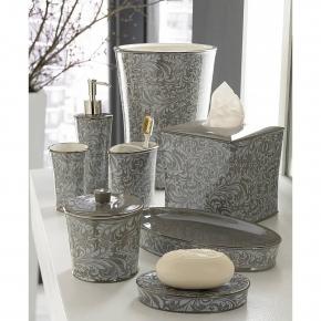 . Bedminster Scroll Flint Grey фарфоровые настольные аксессуары для ванной