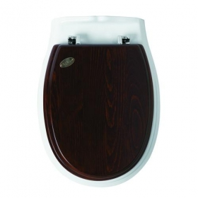 Унитазы Биде. Сиденье деревянное орехового цвета Simas Arcade AR004 с хромированными петлями