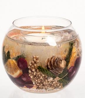 Ароматические свечи Парфюм для дома Диффузоры. Свеча в шарообразной вазе с натуральными сушеными ягодами Зимние специи арт.3536 от Stone Glow