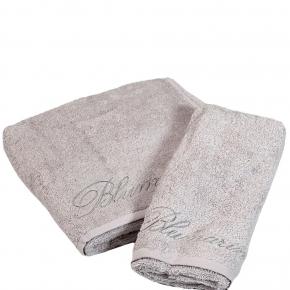 Полотенца хлопковые Deluxe. Комплект полотенец 1+1 Top Model Серебро от Blumarine Art.78572-13