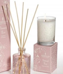Ароматические свечи Парфюм для дома Диффузоры. Свеча в цилиндрическом стакане Дамасская Роза в подарочной коробке от Stone Glow Art.3444