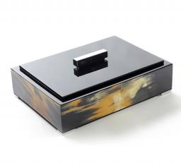 Боксы для часов и украшений Шкатулки Deluxe. Шкатулка черная (темный рог) 22 х 15 см