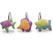 Шторки для душа и ванны текстильные. Набор из 12 крючков для шторки Fish Fantasy XFISHF007R