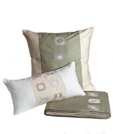 Постельное бельё Deluxe. Королевский комплект Галька зеленый-слоновая кость от Catherine Denoual Maison