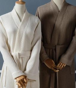 Халаты Одежда для бани и сауны. Халат Кимоно Унисекс вафельный банный Long Island (S/M; L/XL) Слоновая Кость от Casual Avenue