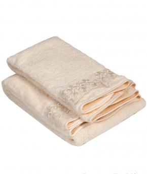 Полотенца хлопковые Deluxe. Комплект полотенец с кружевом для лица и рук Etolio Слоновая Кость Blumarine art. 78384
