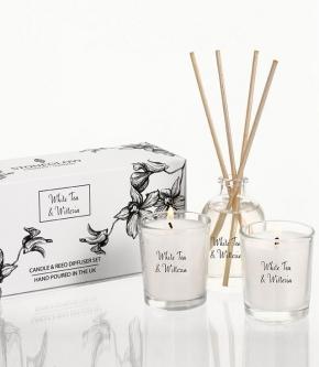 Ароматические свечи Парфюм для дома Диффузоры. Подарочный набор 2 мини свечи + диффузор Белый Чай и Глициния от Stone Glow Арт.3603