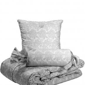 Пледы Покрывала Deluxe. Покрывало Macrame (270х270) и две декоративные подушки Серый от Blumarine Art.74691