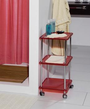 Этажерки для ванной. Этажерка на колесиках с 3-мя полками 5374KR (Красный)