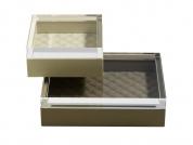 Аксессуары и Мебель для дома. Ёмкость кожаная Leather boxes with acrylic lid by Riviere