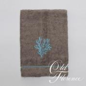 . Банное полотенце с вышивкой (бирюзовый) КОРАЛО 110х150