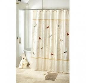 Шторки для душа и ванны текстильные. Шторка для ванной Gilded Birds 11984H