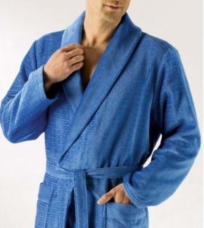Халаты Одежда для бани и сауны.         Халат мужской 1639. Небесно-синий