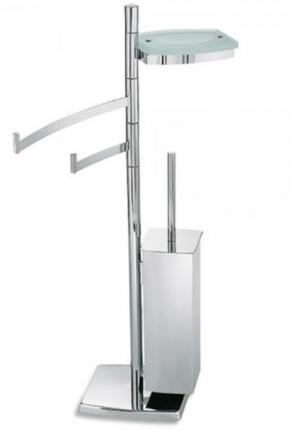 Стойки напольные с ёршиком бумагодержателем, полотенцедержателем и высокие. Стойка с ёршиком, держателем для туалетной бумаги, полотенцедержателем и мыльницей TD164.013
