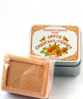 Luxury Гель для душа Мыло. Мыло ароматизированное Корица и Апельсин в жестяной коробочке от Le Blanc