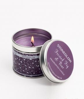 Ароматические свечи Парфюм для дома Диффузоры. Свеча с блестками в жестяной баночке с крышкой  Инжир и Груша от Stone Glow  Арт.3557