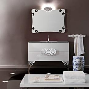 Мебель для ванной комнаты. Eurolegno GlamourКомпозиция №5 Комплект мебели 120 см, цвет: глянцевый белый