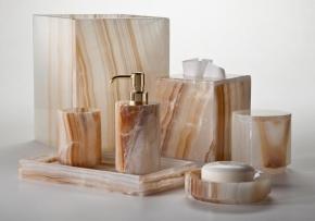 Аксессуары для ванной настольные. Ambarino натуральный камень карамельный Оникс настольные аксессуары для ванной