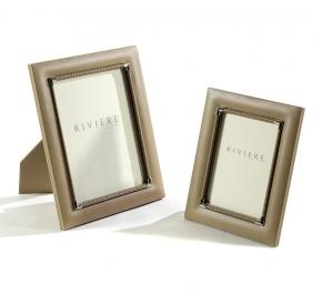 Рамки для фотографий Deluxe. Рамка для фото кожа с внутренней хромированной и плетеной отделкой