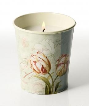Ароматические свечи Парфюм для дома Диффузоры. Свеча в жестяном горшочке с принтом Тюльпан от Stone Glow Art.3471