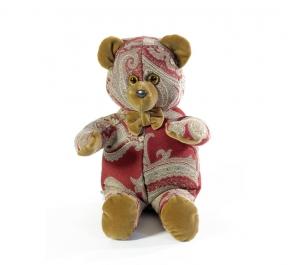 . Мишка (мягкая игрушка) в текстиле с красным узором (34 см)