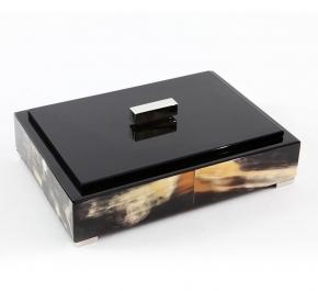 Боксы для часов и украшений Шкатулки Deluxe. Шкатулка черная (темный рог) 28 х 20 см