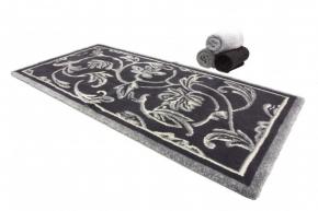 . Коврик для ванной Династия Серебро-антрацит растительный декор Abyss&Habidecor