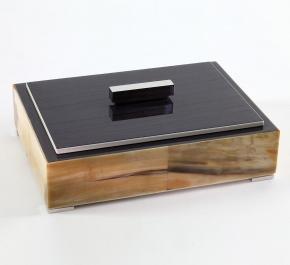 Боксы для часов и украшений Шкатулки Deluxe. Шкатулка темно-коричневая (светлый рог) 28 х 20 см