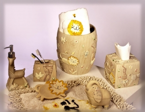 Аксессуары для детских ванных комнат. Animal Crackers керамические настольные аксессуары для ванной