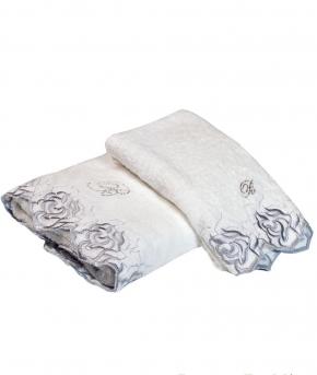 Полотенца хлопковые Deluxe. Комплект полотенец для лица и рук Marielle Серебро от Blumarine art.78638-06