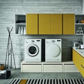 Итальянские постирочные раковины Мебель и оборудование для постирочной комнаты.  Итальянская мебель для постирочной шкаф для стиральной и сушильной машины раковина BIREX Idrobox цвет