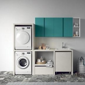 Итальянские постирочные раковины Мебель и оборудование для постирочной комнаты.  Итальянская мебель для постирочной шкаф для стиральной и сушильной машины раковина BIREX Idrobox