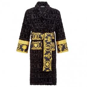 Халаты Одежда для бани и сауны Deluxe. Versace home collection Barocco and Robe халат махровый чёрный