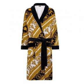 Халаты Одежда для бани и сауны Deluxe. Versace home collection I Heart ♡ Baroque халат махровый чёрно-золотой с белым