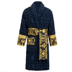 Халаты Одежда для бани и сауны Deluxe. Versace home collection Barocco and Robe халат махровый синий