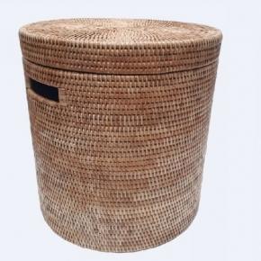 Корзины для белья. Раттан Rattan плетёная корзина для белья с крышкой натуральный круглая медовая