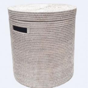 Корзины для белья. Раттан Rattan плетёная корзина для белья с крышкой натуральный круглая светлая