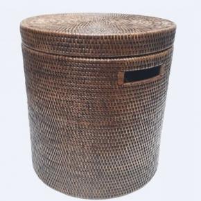 Корзины для белья. Раттан Rattan плетёная корзина для белья с крышкой натуральный круглая тёмная