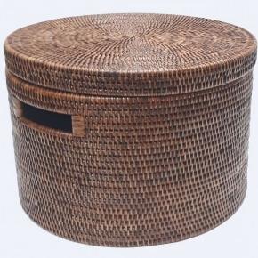 Хранение и порядок. Раттан Rattan плетёная ёмкость для хранения с крышкой натуральный тёмный Большая