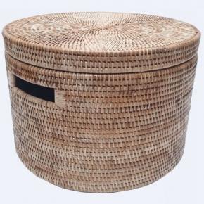 Хранение и порядок. Раттан Rattan плетёная ёмкость для хранения с крышкой натуральный медовый Большая