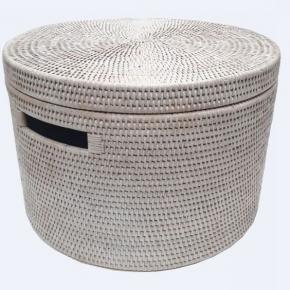 Хранение и порядок. Раттан Rattan плетёная ёмкость для хранения с крышкой натуральный светлый Большая
