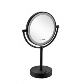 Зеркала косметические с подсветкой увеличением настенные настольные Зеркала с присосками. Зеркало с LED-подсветкой батарейки двухстороннее 3х1 увеличение настольное Чёрное