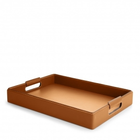 Аксессуары и Мебель для дома. WYATT SMALL SADDLE поднос кожаный коричневый Ralph Lauren
