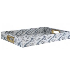 Аксессуары и Мебель для дома. IKAT LACQUER BLUE Aerin Lauder поднос деревянный лак