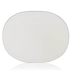 Посуда Столовые приборы Декор стола Deluxe. Подставка овальная кожаная GioBagnara Слоновая кость