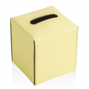 Аксессуары и Мебель для дома. Салфетница квадратная кожаная Лимонная GioBagnara